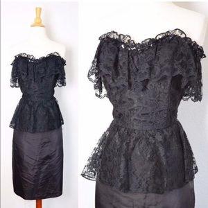 🖤 Vintage Black Lace 80s Prom Dress 🖤